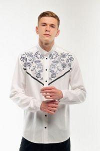 Мужские вышиванки Мужская вышитая рубашка Знахидка белая