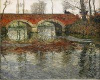 Речной пейзаж с каменным мостом