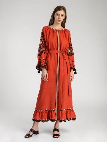 Богемное макси-платье терракотового цвета Orange