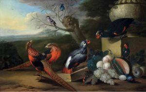 Барокко Птицы и фрукты в парковом пейзаже