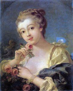 Буше Франсуа Девушка с букетом роз