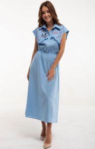 Вышитые платья Платье вышитое Соцветие голубое