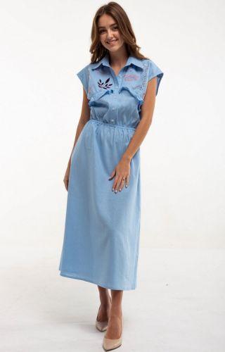 Платье вышитое Соцветие голубое