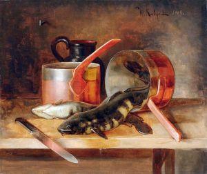 Клевер Юлий Натюрморт с рыбами и посудой