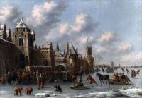 Зимний пейзаж с фигурами на коньках и санках перед укрепленным городом