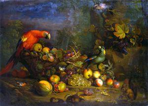Барокко Натюрморт с фруктами, птицами и белкой