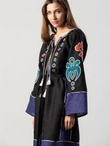 Жіночі вишиванки ручної роботи  Міді плаття чорного кольору з аплікацією та вишивкою Meduza Dark