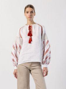 Вишиті жіночі сорочки ручної роботи Лляна вишиванка вільного крою LIRA RED
