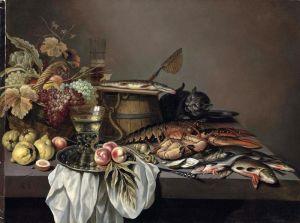 Клас Питер Натюрморт с фруктами, морепродуктами, кадушкой, беркемайером и крадущимся котом