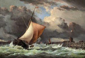 Романтизм Гавань Кале, вид старого пирса и форта Роже с входящим шлюпом