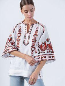 Вишиті жіночі сорочки ручної роботи Біла вишиванка з орнаментом Pava