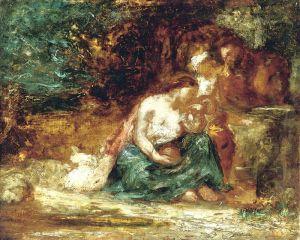 Сім'я, відпочивальниця в пейзажі