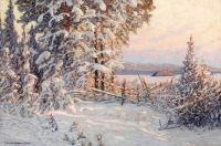 Зимний вечер на озере Рунн, Даларна