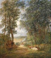Лесной пейзаж с отдыхающими коровами