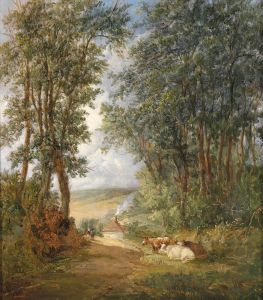 Викерс Альфред Лесной пейзаж с отдыхающими коровами