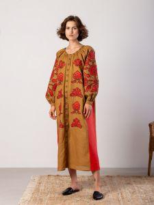 Вышитые платья Льняное миди-платье с аппликацией из вышивки Poppy