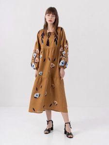 Вышиванки ручной работы Льняное миди платье c вышивкой Kazka Brown