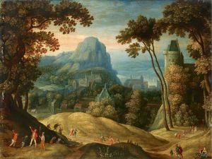 Барокко Панорамный пейзаж с городом в долине и крепостью