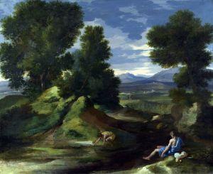 Пуссен Никола Пейзаж с мужчиной, черпающим воду из потока