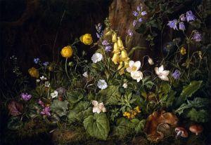 Барокко Полевые цветы и грибы в лесистой местности