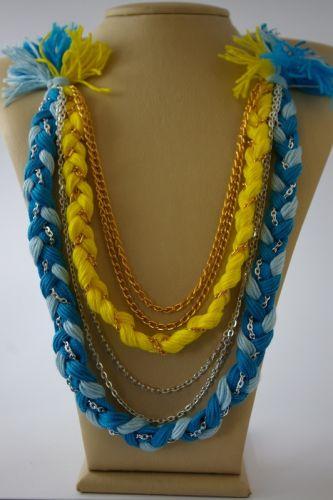 Ожерелье из хлопковых нитей и цепочек №2