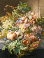 Натюрморт с цветами, фруктами, каштанами, мышью, улиткой и мухой на каменном выступе