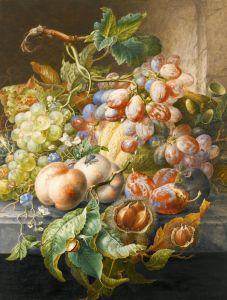 Бароко Натюрморт з квітами, фруктами, каштанами, мишею, равликом і мухою на кам'яному виступі