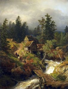 Ахенбах Андреас Горный пейзаж с потоком и водяной мельницей