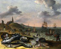 Прибрежный пейзаж с грудой рыбы