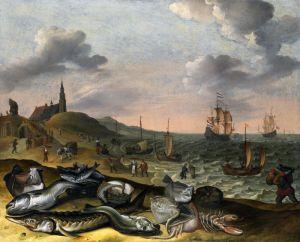 Барокко Прибрежный пейзаж с грудой рыбы