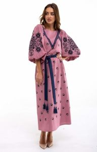 Вышитые платья Платье вышиванка Росинка пудра