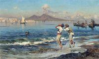 Una veduta del golfo di Napoli con i pescatori nella priorita alta