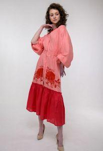 Платье вышиванка ручной работы Вышитое платье Журавка корал