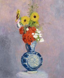 Редон Одилон Букет цветов в синей вазе 2