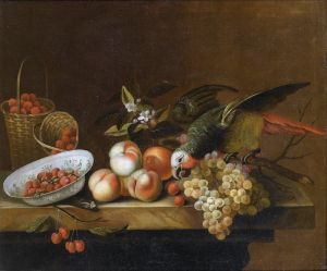 Штрановер Тобиас Круг. Натюрморт с фруктами и попугаем