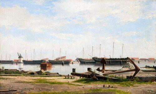 Вид на пристань в Нюхольм з військовими кораблями