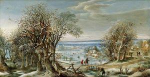 Ван-Альслот Денис Вид аббатства Гренендаль недалеко от Брюсселя зимой