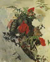Червоні квіти і листя бегонії в кошику