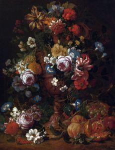 Верендаль Николас ван Натюрморт с цветами в скульптурной урне и фруктами