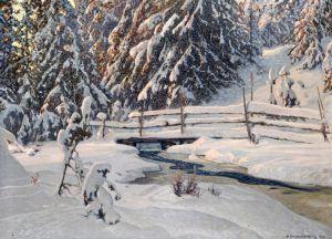 Шультцберг Ансельм Зимний вечер у лесного ручья