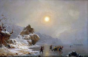 Ахенбах Андреас Зимний пейзаж с охотниками на льду