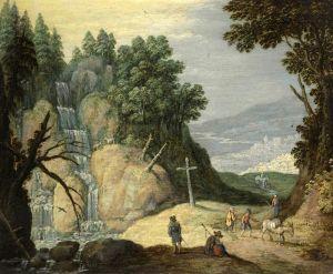 Рейкарт Мартин Скалистый пейзаж с водопадом и путниками на дороге