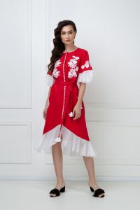 """Вишиті плаття """"Дейзi"""" червона сукня-мiдi"""