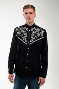 Мужские вышиванки Мужская вышитая рубашка Знахидка черная