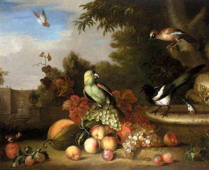 Барокко Натюрморт с фруктами и птицами