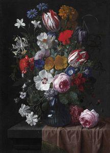 Верендаль Николас ван Букет цветов в синей стеклянной вазе на каменном выступе