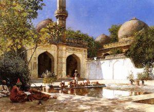 Уикс Эдвин Лорд Люди во дворе мечети, Индия