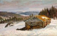 Сарай для скота в зимнем пейзаже