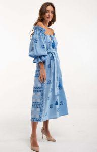 Вышитые платья Платье вышиванка Барвинок голубое