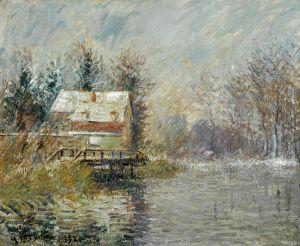 Луазо Гюстав Дом над водой, эффект снега